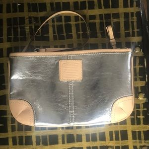 COACH Silver and natural Leather Wristlet